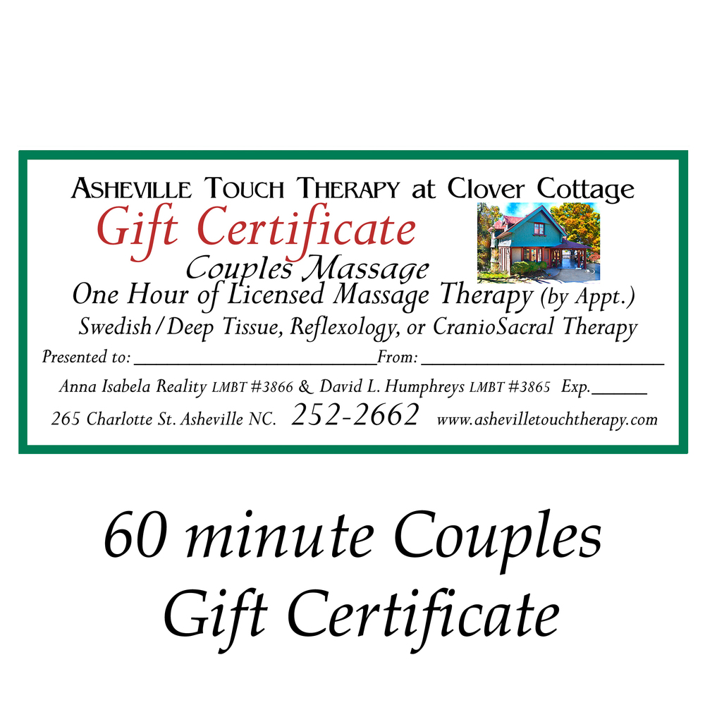 buy gift certificates asheville touch therapy couples gift certificate
