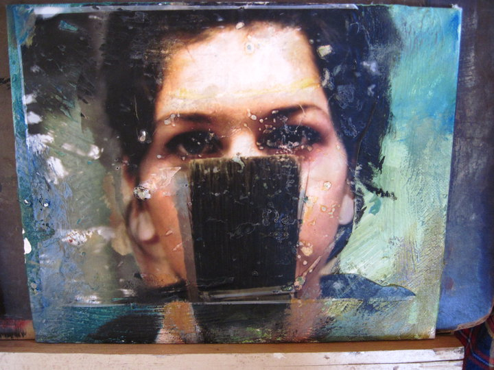 Photo transfer on top of painting
