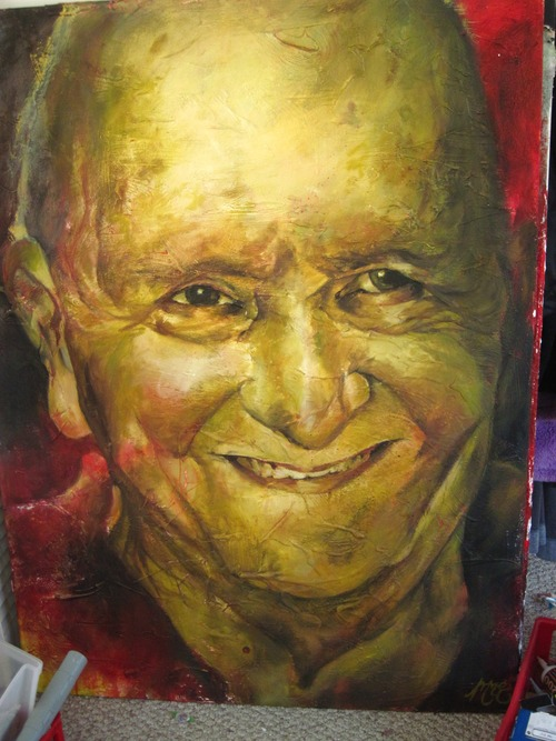 38x40, Oil, acrylic, and texture paint. I spent months trying to portray him as grotesque, but he came out charming instead. Like a turtle, or something from a fairy tale. Someone who reads stories. But really, I paid a lot of attention to the liver spots and sags, but all together, Uncle Thomas is adorable?