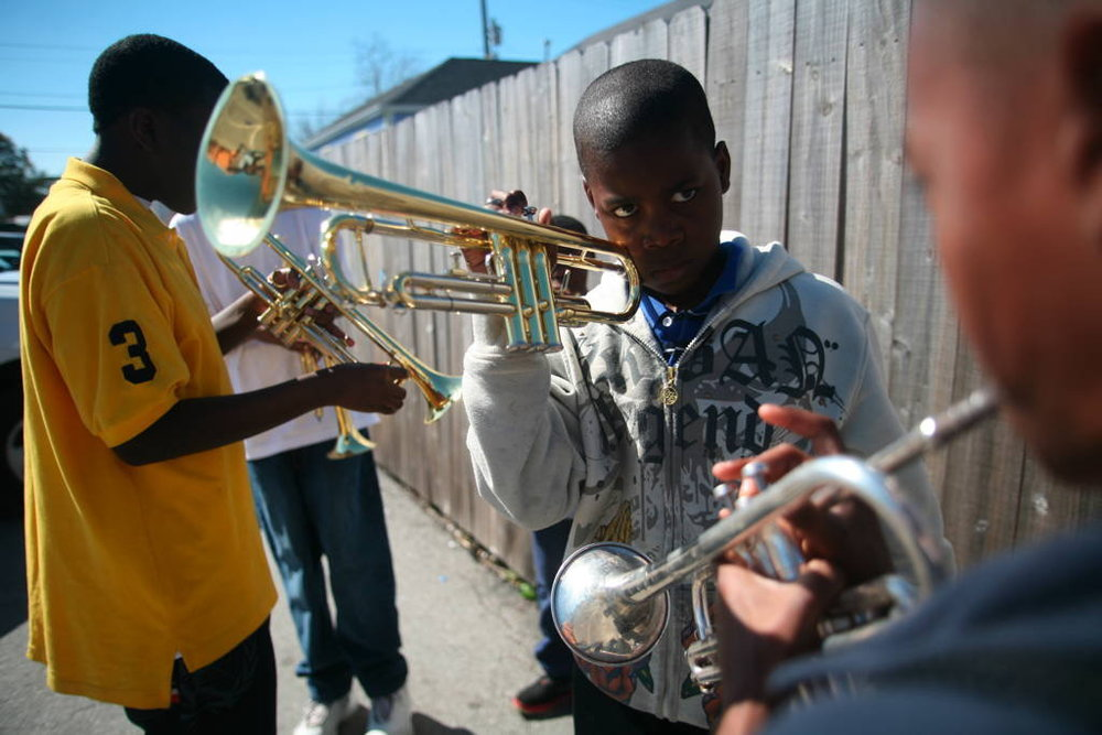 Trumpeters from the Roots of Music Marching Crusaders practice - courtesy of The Whole Gritty City