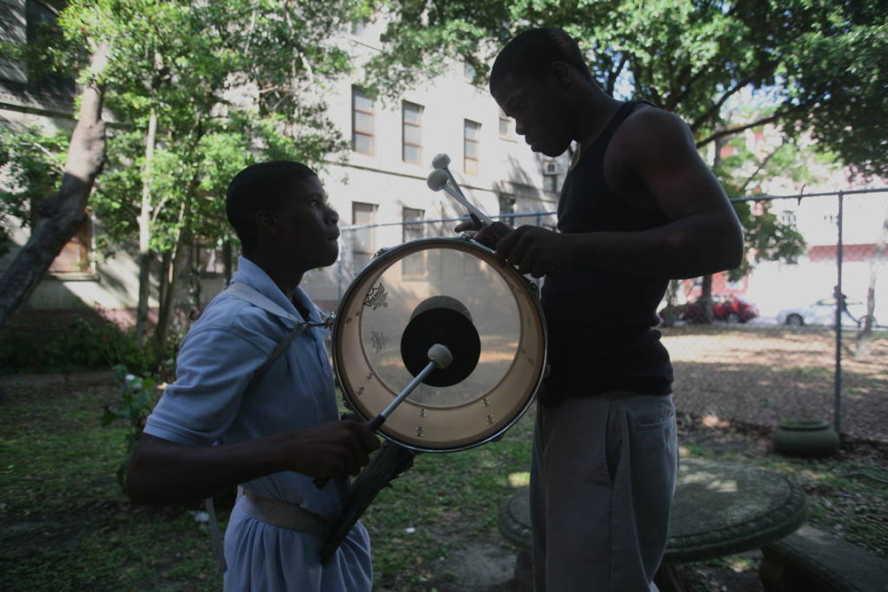 Participants in drum practice for the L.E. Rabouin High School Marching Band - courtesy of The Whole Gritty City
