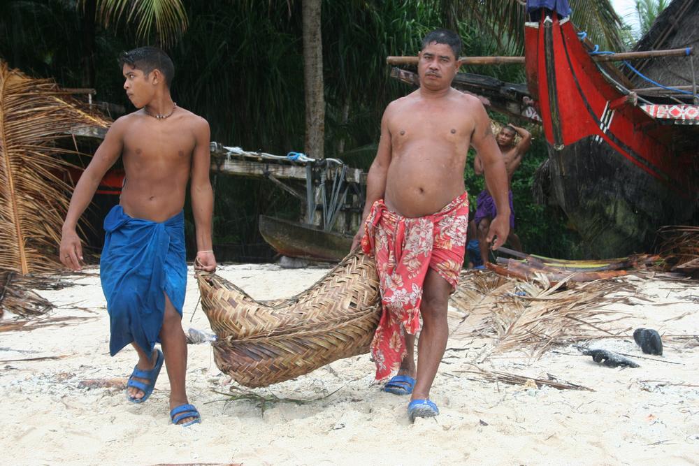 Copra, or the dried meat of the coconut, is collected for export on the island of Ifalik.