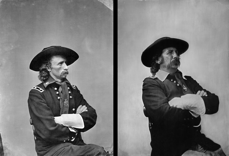 Modern day wet plate reenactment image of General Custer attempting to duplicate the original wet plate taken by Mathew Brady on May 23rd, 1865. Image taken by Shane Balkowitsch { wikipedia }