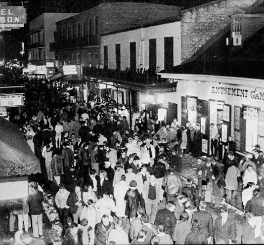 Bourbon Street in the scruffy 1970s, at its absolute nadir, just prior to the formation of Mayor Moon Landrieu's reformist commission. [Courtesy City of New Orleans, Vieux Carre Commission]