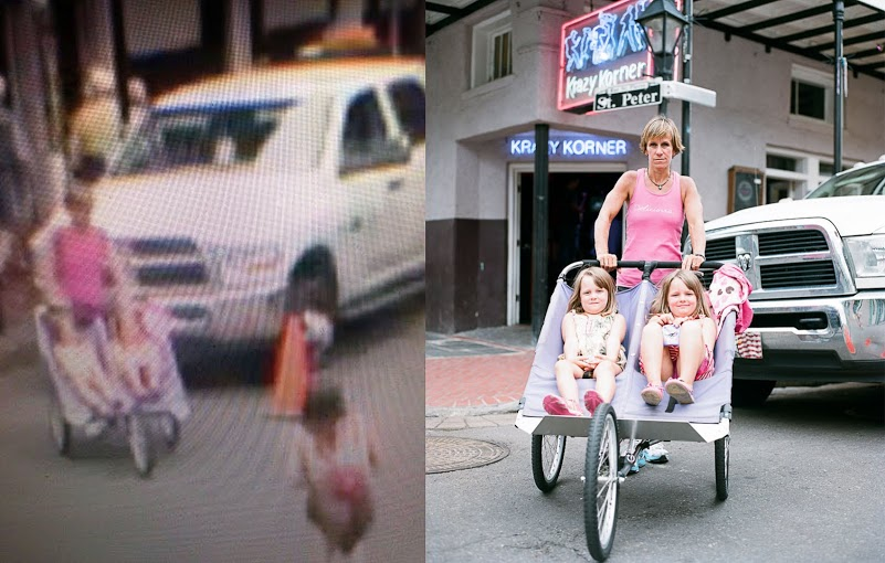 Mother and her Non-Twins on an Early Morning Jog on Bourbon Street [Paired with EarthCam capture]