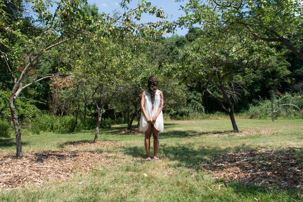 Dollbaby standing in the orchard at midday , Archival Pigment Print, Multiple Sizes, 2015