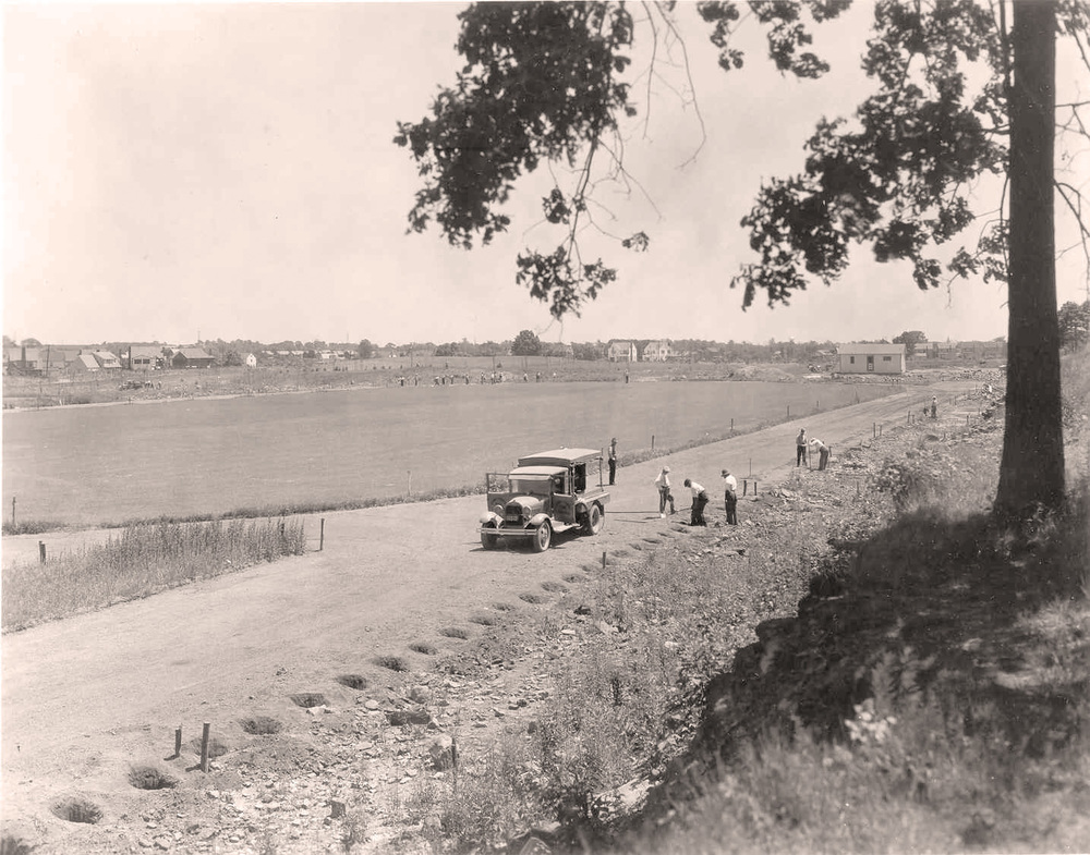 Photo taken circa 1935 during construction of the original running track in Brookdale Park, Essex County, NJ.