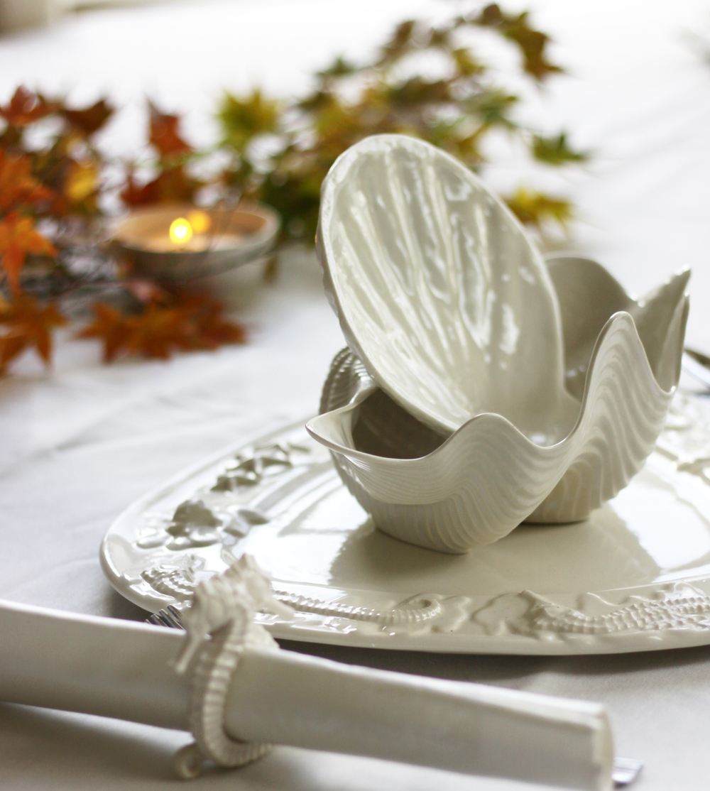 Seahorse & Starfish Platter fall leave and tealight