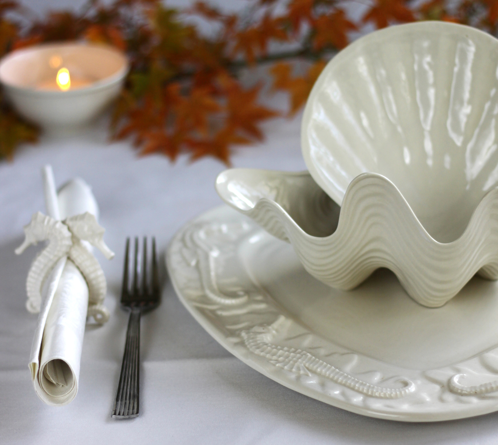 Seahorse & Starfish Platter fall table setting