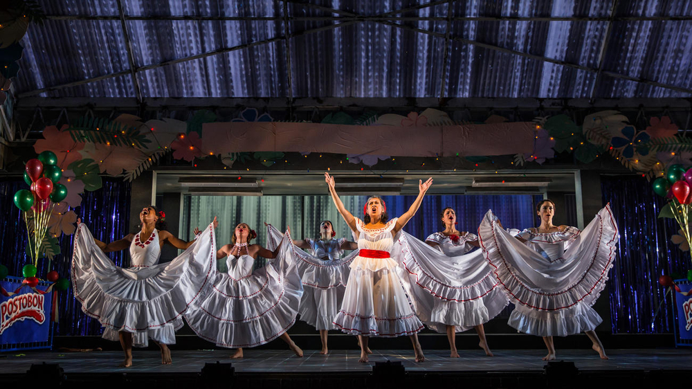 "Danaya Esperanza as Luzmery, Carmen Zilles as Isabelle, Zoe Sophia Garcia as Nora, Socorro Santiago as Ciliana, Stephanie Andrea Barron as Yolanda and Helen Cespedes as Xiomara in ""Another Word for Beauty"" by Jose Rivera, directed by Steve Cosson at Goodman Theatre (January 16 – February 21, 2016)."