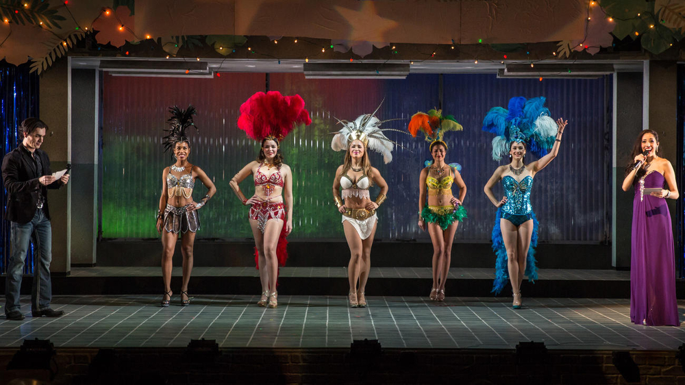 "Dan Domingues as Danny/Maurico/Arturo, Danaya Esperanza as Luzmery, Zoe Sophia Garcia as Nora, Carmen Zilles as Isabelle, Stephanie Andrea Barron as Yolanda and Helen Cespedes as Xiomara in ""Another Word for Beauty"" by Jose Rivera, directed by Steve Cosson at Goodman Theatre (January 16 – February 21, 2016)."