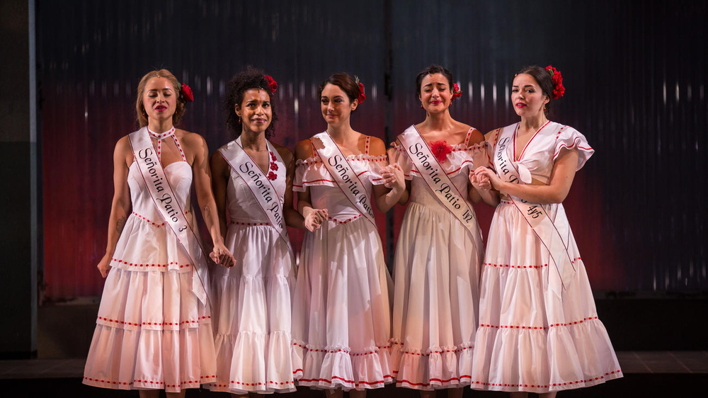 Carmen Zilles as Isabelle, Danaya Esperanza as Luzmery, Helen Cespedes as Xiomara, Stephanie Andrea Barron as Yolanda and Zoe Sophia Garcia as Nora in Another Word for Beauty by José Rivera, directed by Steve Cosson at Goodman Theatre (January 16 – February 21, 2016).