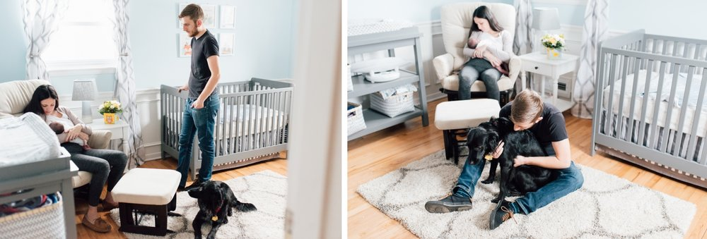 New Jersey In-Home Newborn Session, Newborn and Family with Dog