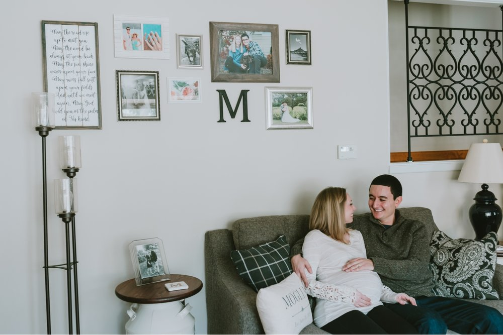 Couple in Living Room Awaiting Baby Girls