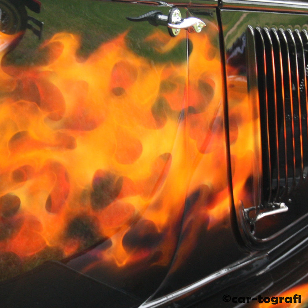 Fire on the roadster.