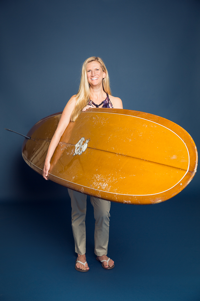 Amanda and her surfboard photographed in Wakefield, RI