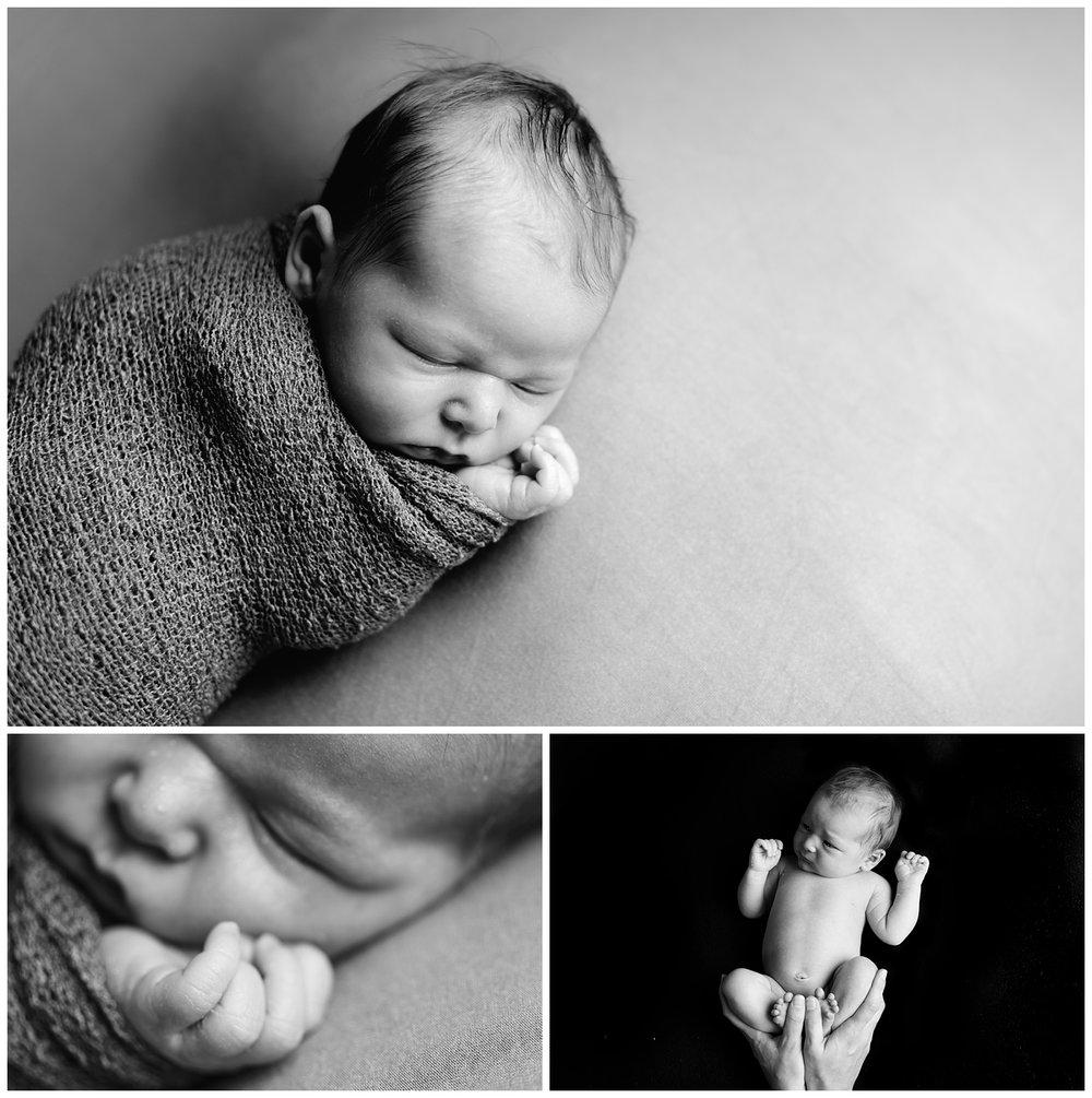 Black and white newborn baby girl studio portrait in South County, RI