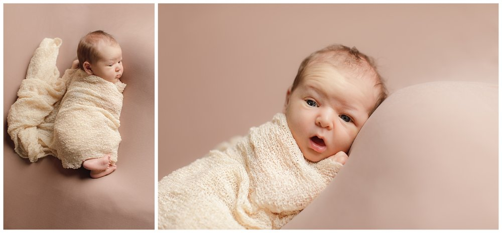 Newborn baby girl studio portrait on tan backdrop in South County, RI