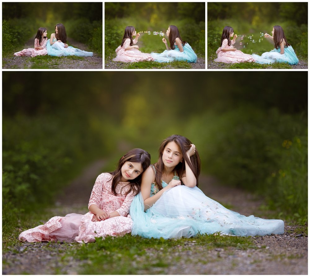 Sisters in princess dresses in the woods • South County Commons, South Kingstown, RI