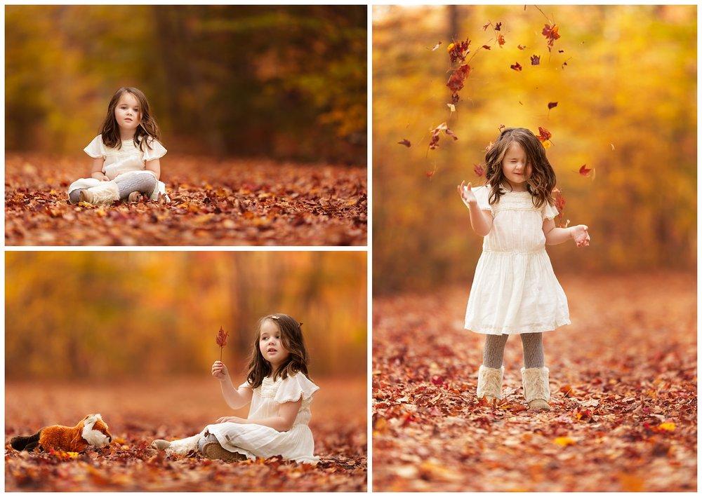 Girl in the woods in fall in Rhode Island