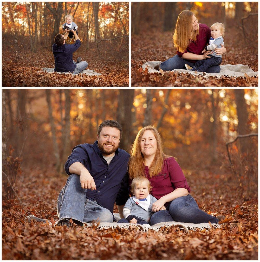 Family in the woods in fall in Rhode Island