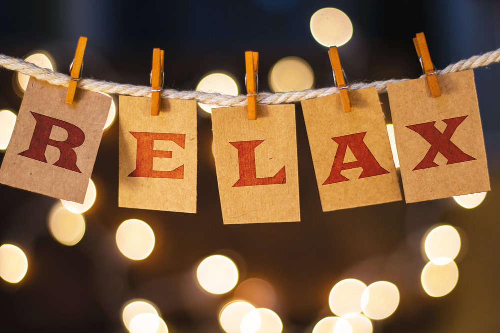 Relax sign on clothesline