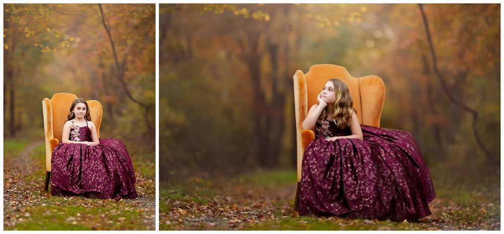 girl in the woods in South Kingstown, RI