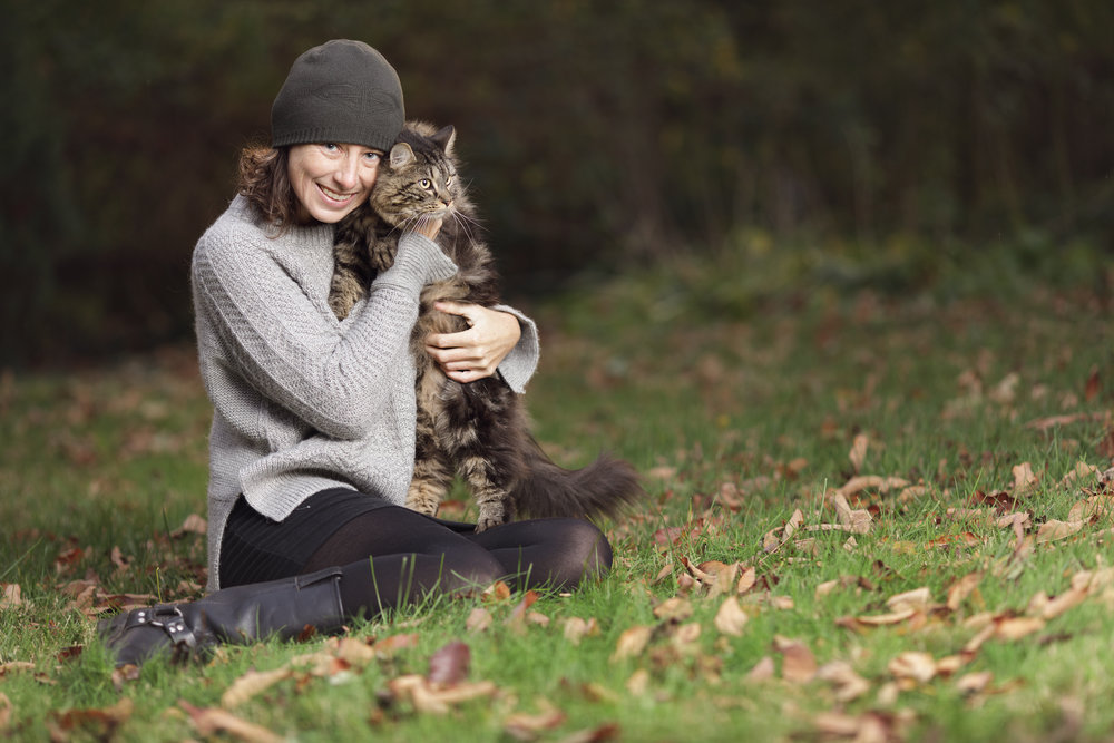 woman and cat in Wakfield, RI