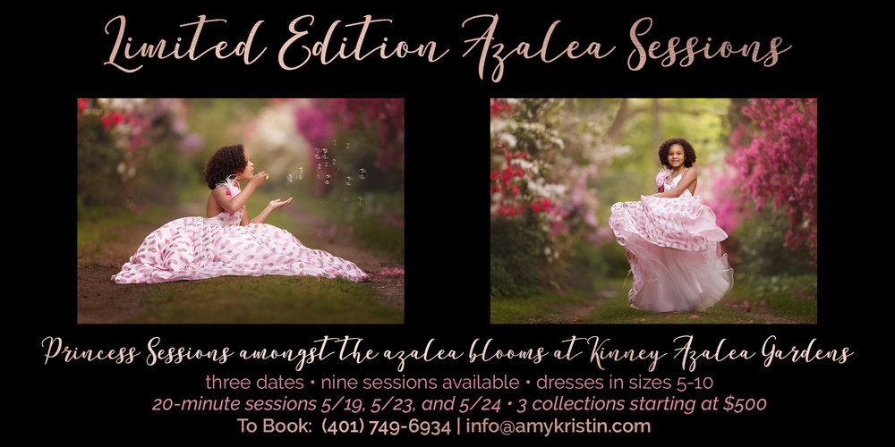 ad for photo sessions at Kinney Azalea Gardens
