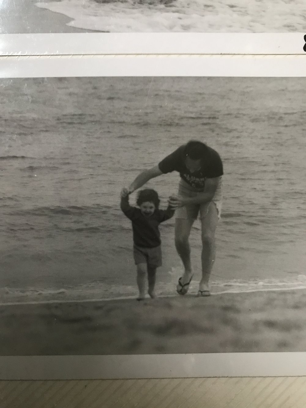 father and daughter at Scarborough beach in 1978