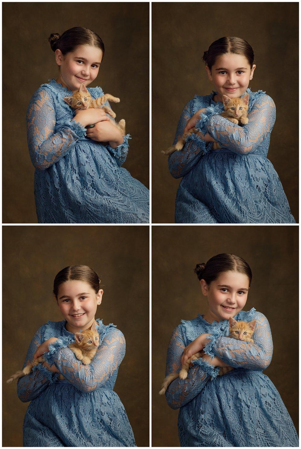 Studio photos of girl with cat in Charlestown, RI