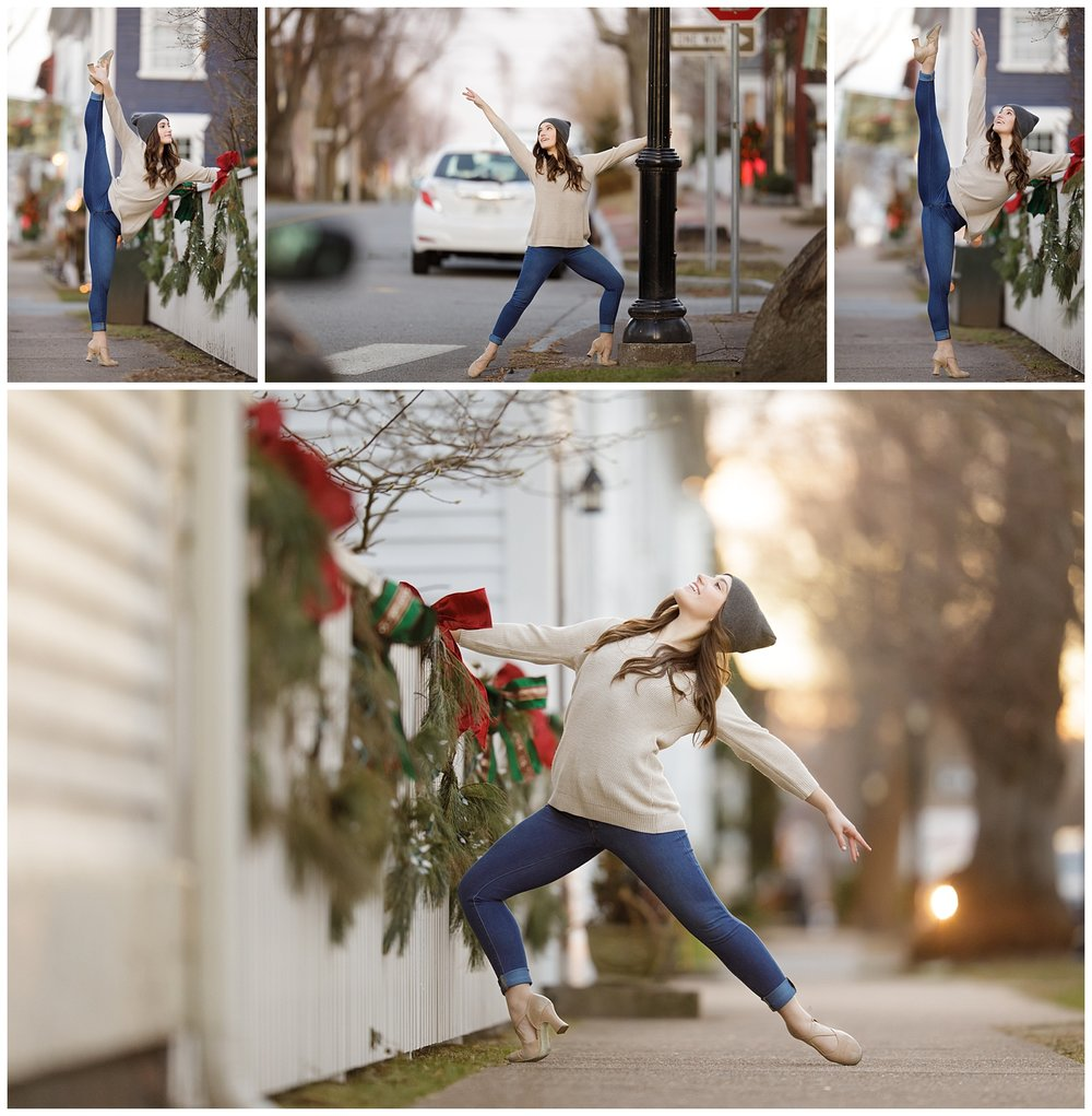 dancer on the sidewalks of Wickford, RI