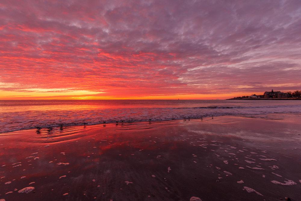 winter sunrise at Narragansett town beach