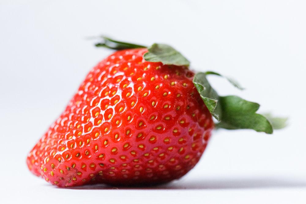 macro image of strawberry
