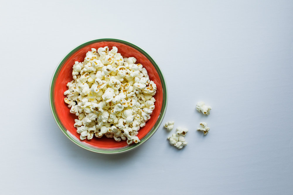 bowl of popcorn, viewed from above