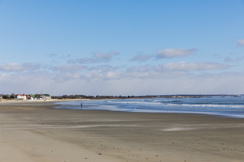 Narragansett Town Beach in winter
