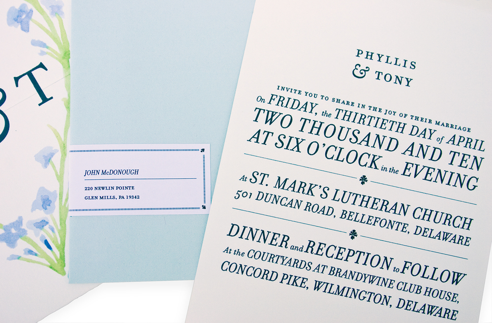 P & T Wedding Invitations, Julie Rado
