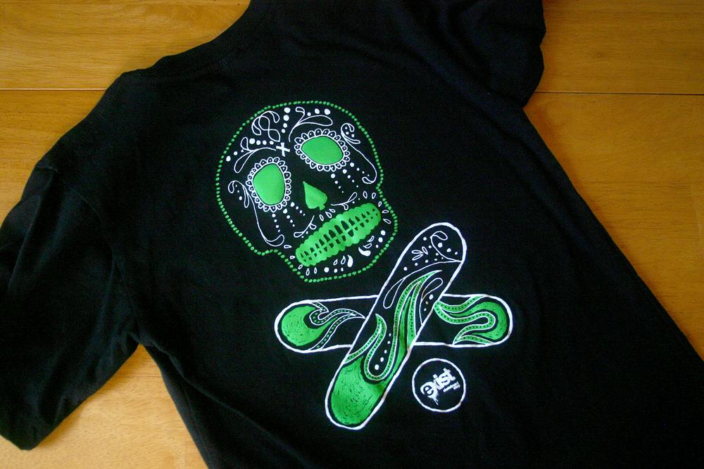 Exist Skateboard Shop Skull T-Shirt, Julie Rado/Choke Design Company
