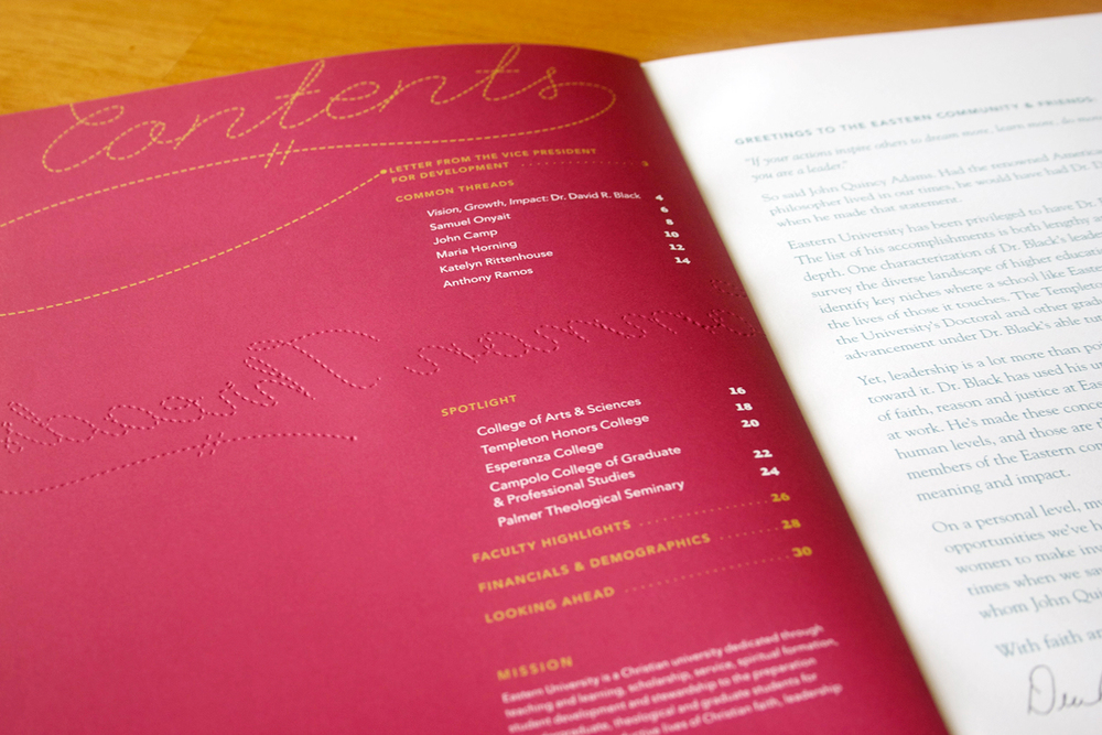 Eastern University 2010–2012 Annual Report, Julie Rado/Untuck Design
