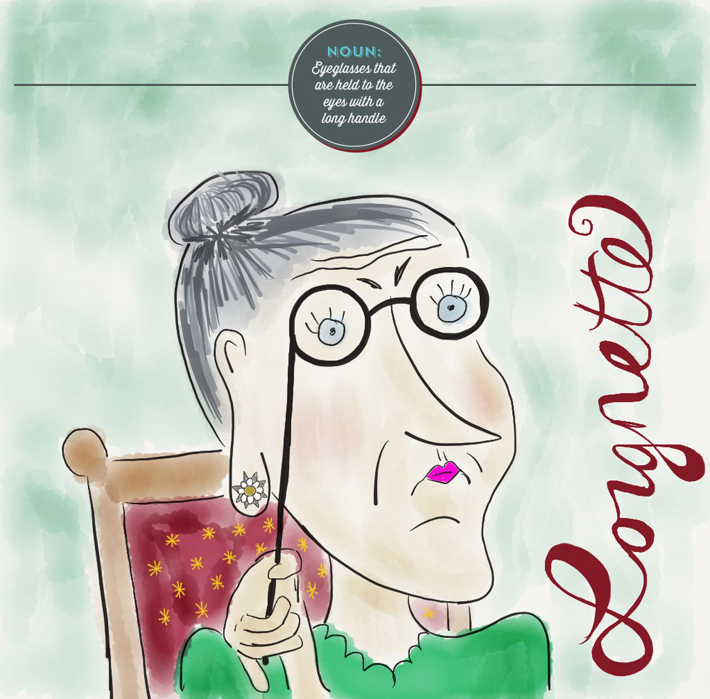 Visual Vocabulary: Lorgnette illustration, Julie Rado Design