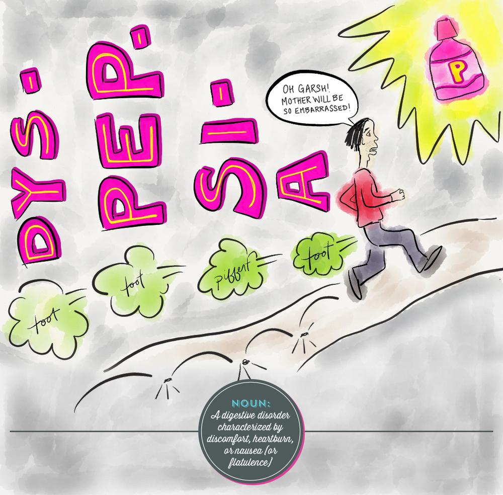 Visual Vocabulary: Julie Rado Design, dyspepsia illustration