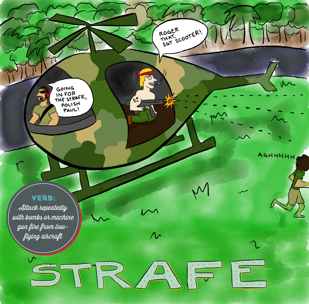 Visual Vocabulary: strafe illustration, Julie Rado Design