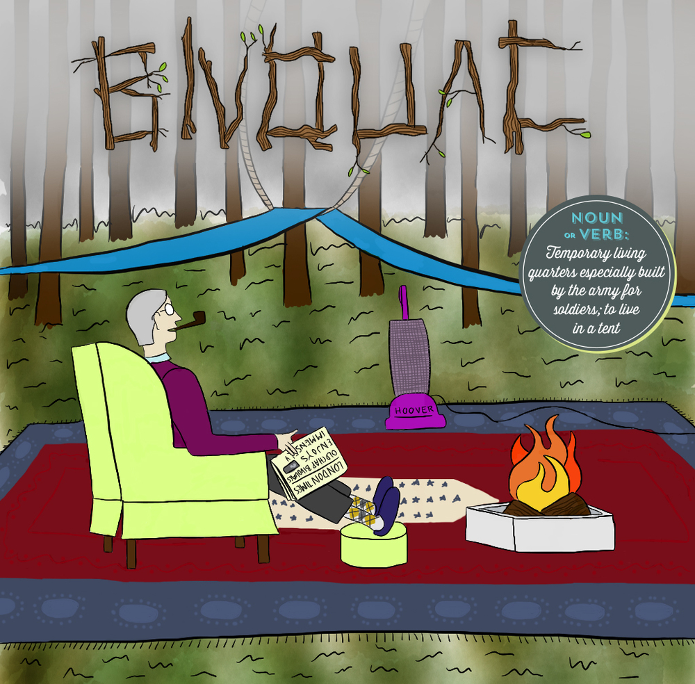 Visual Vocabulary: bivouac illustration, Julie Rado Design