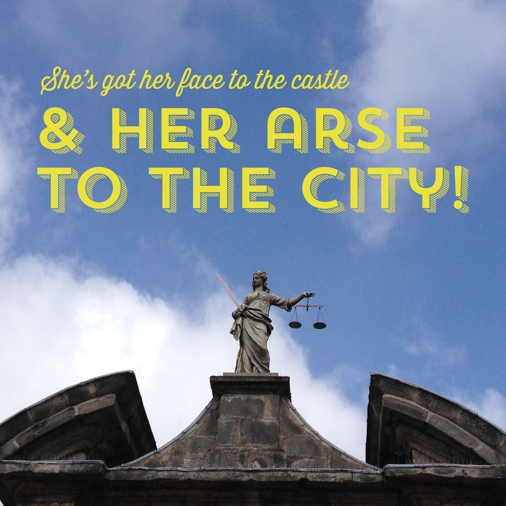 The unfortunately situated Lady Justice at Dublin Castle.