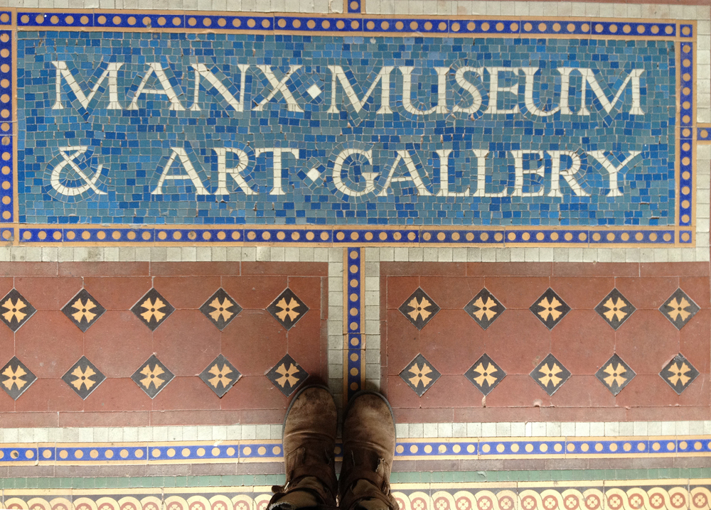 Foot-selfie at the Manx Museum (plus cool tiled type, of course)