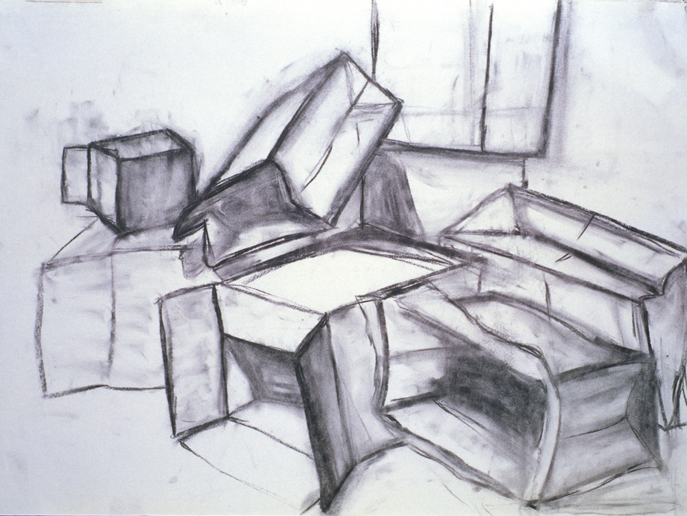 Boxes & Paper Bags; charcoal drawing