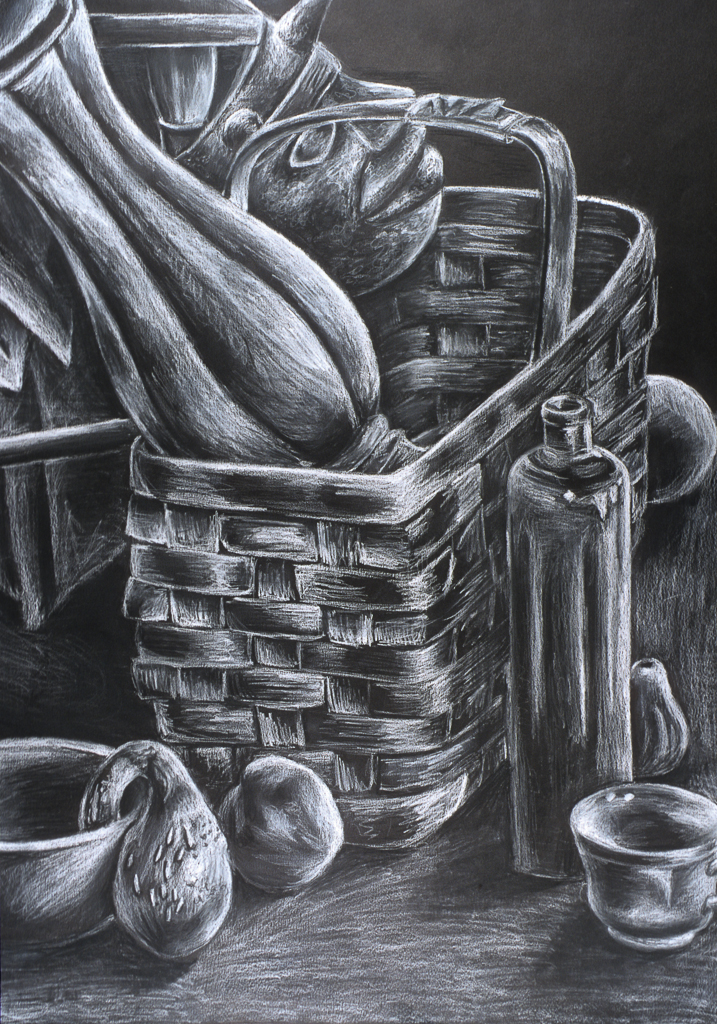 Still Life; charcoal drawing