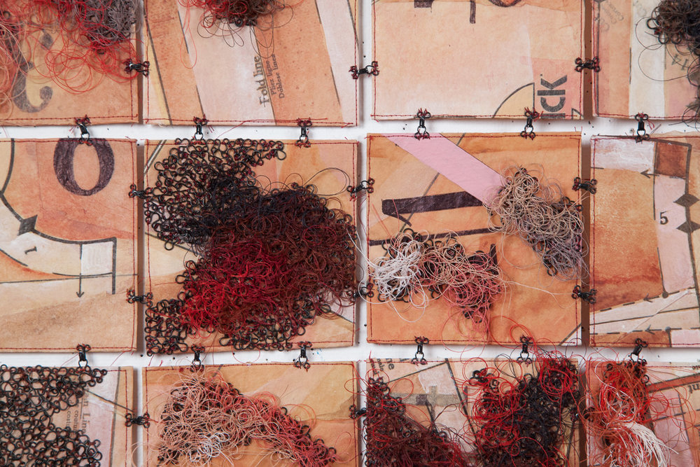 stitched art, grid, sewing patterns, wall hanging