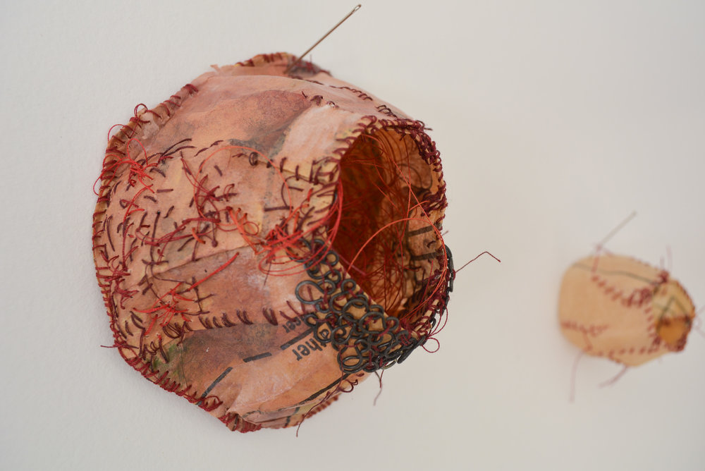 stitched paper sculptures