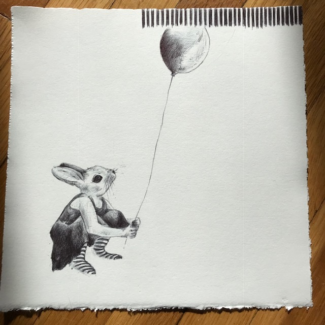rabbit with balloon